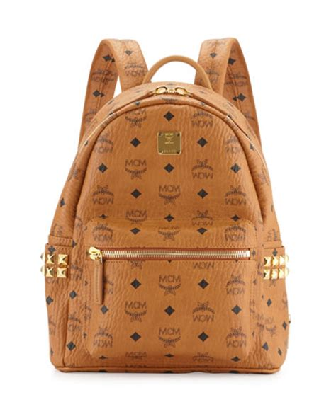 v2bf4 mcm stark small canvas backpack cognac