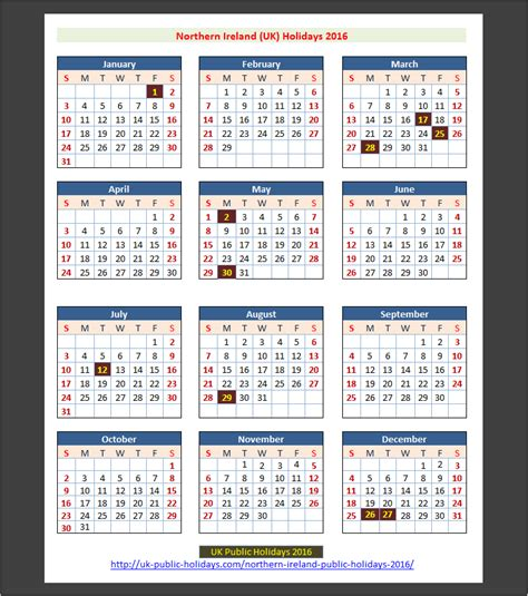 2016 year planner printable ireland northern ireland uk public holidays 2016 uk holidays
