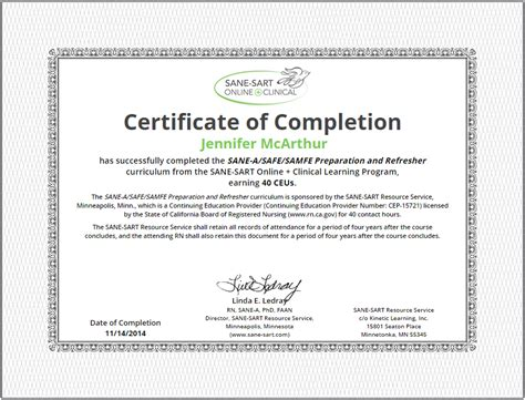 Sane Sart Online Clinical 187 Earn Continuing Education Units Ceu Certificate Of Completion Template