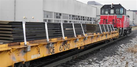 Railway Car Metal Diskon ensuring worker safety when securing steel plates on railcars