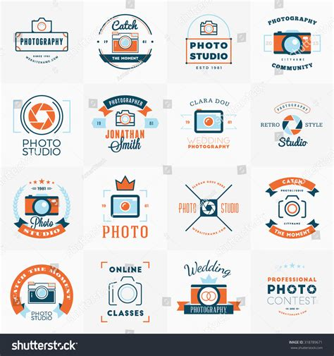 vector set photography logo design templates stock vector
