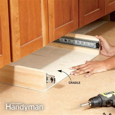 kitchen under cabinet storage how to build under cabinet drawers increase kitchen storage the family handyman