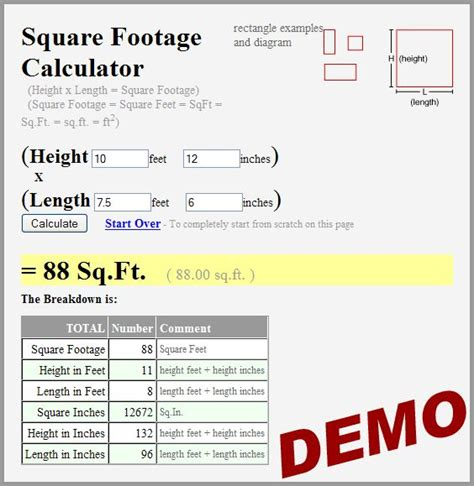 how to calculate dimensions from square feet square footage calculator for the home garden pinterest