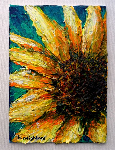 Made to order sunny sunflower acrylic painting on canvas panel original art 4 1 13 25 00