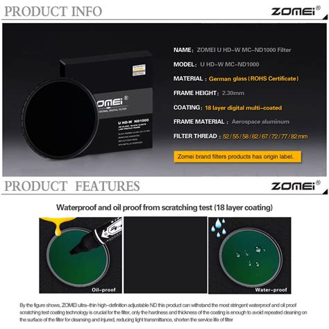 Terlaris Cacagoo Pro 52mm Nd1000 Nd Neutral Density Filter Lens wholesale zomei 58mm optical photo gray lenses 10 stop nd filter nd1000 alibaba