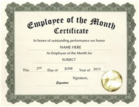 employee of the month certificate templates free templates for business certificate templates