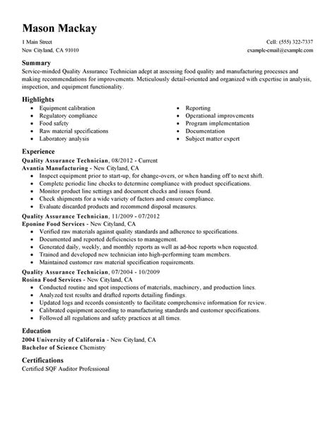 Free Sle Quality Assurance Resume Qa Resume Template 28 Images A Resume