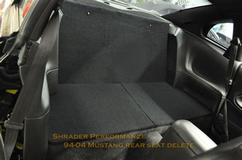 mustang rear seat delete kit 94 04 mustang rear seat delete by shrader performance