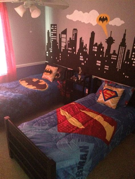 superman bedroom decor batman vs superman themed bedroom painted city scape mural as an accent lilys room