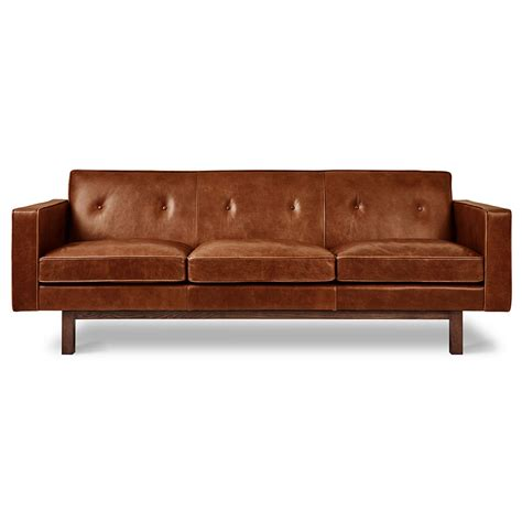 brown modern sofa gus embassy modern saddle brown leather sofa eurway