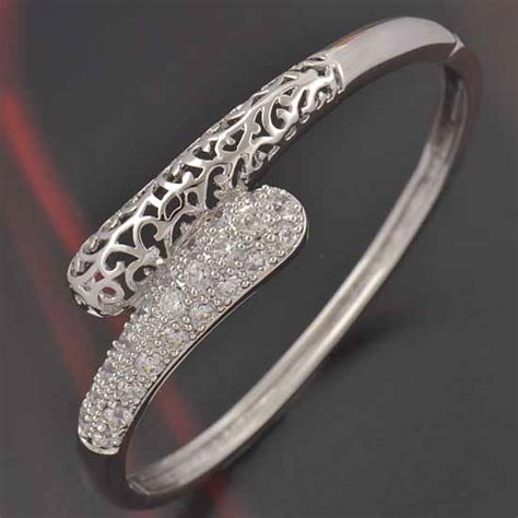 Deluxe White Gold CZ Bangle · Gold Jewelry · Gold Jewelry Online Shop