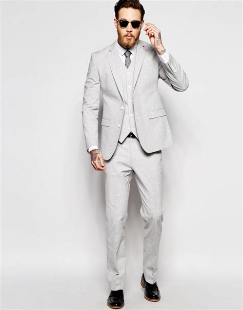 light grey three suit light gray modern slim fit 3 suit aisle society