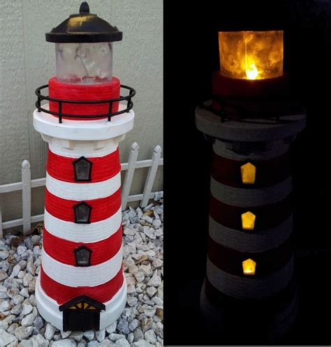 Red Lighthouse Fiberglass Solar Light W Amber Led 21 Lighthouse Solar Light