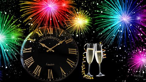 merry christmas happy  year glasses  champagne clock colorful fireworks christmas cards