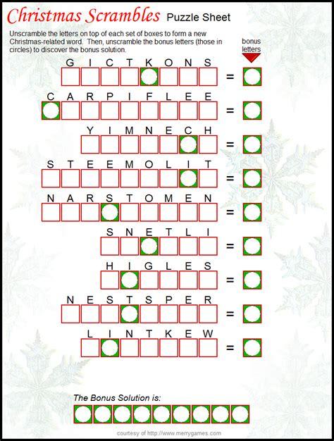 printable christmas fun free printable christmas scramble great holiday