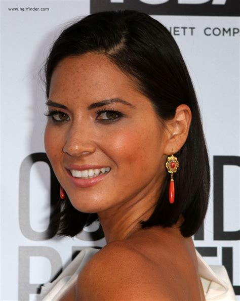 black hairstyles behind the ears olivia munn sleek above the shoulders and behind the