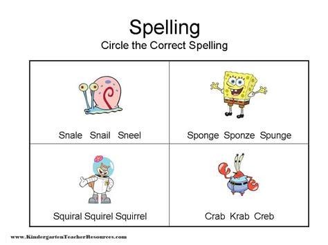 Kindergarten Spelling Worksheets by Spongebob Spelling Worksheets