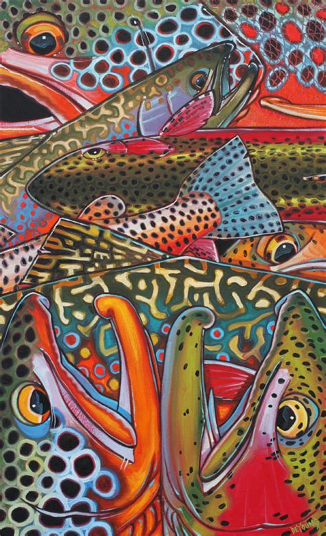Dekorasi Dinding Abstract Painting 4in1 trout confetti series derek deyoung