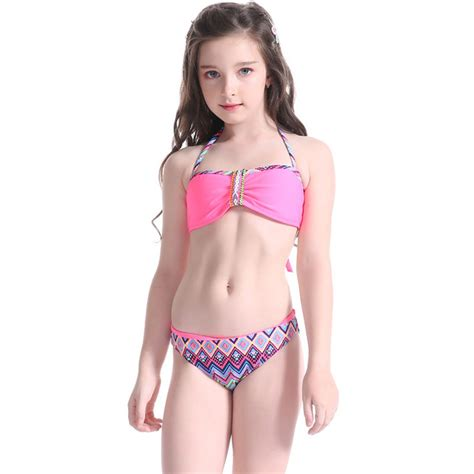 very young little girls shiny cute baby girl two pieces swimsuit bandage swimwear stripe