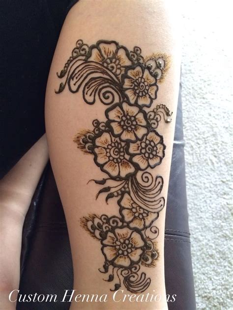 henna tattoos for legs floral henna design on leg with arabic mehndi feel custom