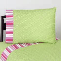 pink lime green ruffle bedding
