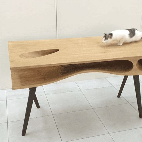 cat table gif art design cats pets furniture wood table tables