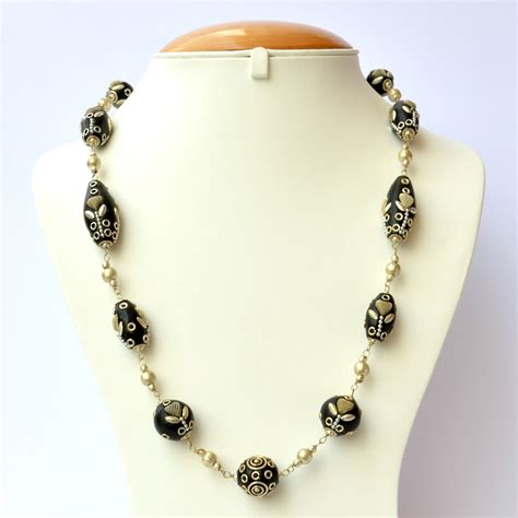 Handmade Accessories - handmade black necklace studded with metal chain