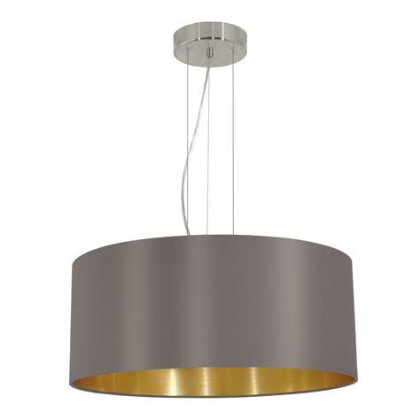 Eglo 31608 Maserlo Large Cappucino And Gold Fabric Pendant Fabric Pendant Lights