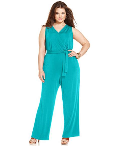 dressy jumpsuits at macys for women ny collection plus size sleeveless belted jumpsuit
