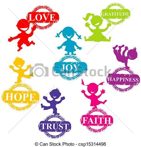 Wall Words Decor Eps Vectors Of Doodle Kids With Stamps With Positive Words