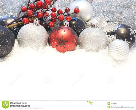 snowy christmas decorations stock photo image 63298427