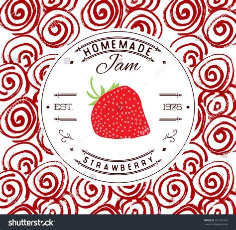 Jam Label Design Template Strawberry Dessert Stock Vector 361267445 Shutterstock Dessert Labels Template