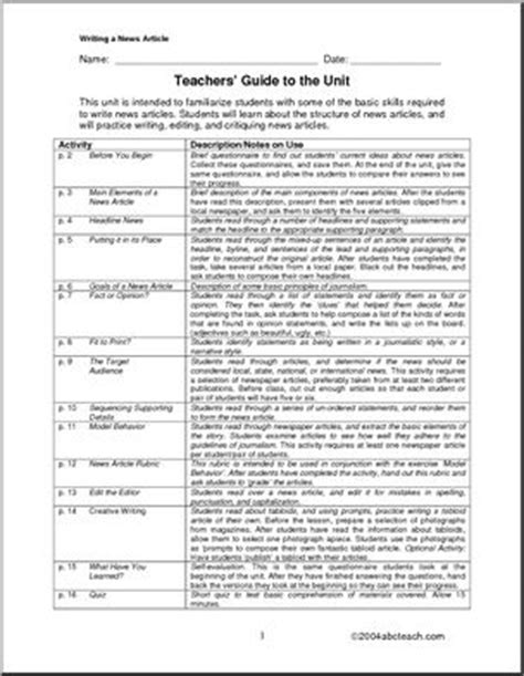 Unit: Writing a News Article (middle school) | abcteach