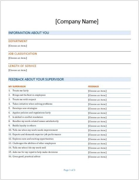 7 Customer Feedback Forms For All Businesses Formal Word Templates Manager Feedback Template