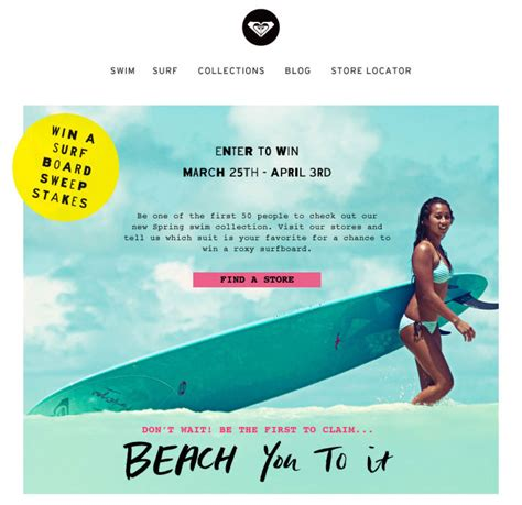 Email Sweepstakes - casual surfy roxy don t let someone beach you to it inbox junky