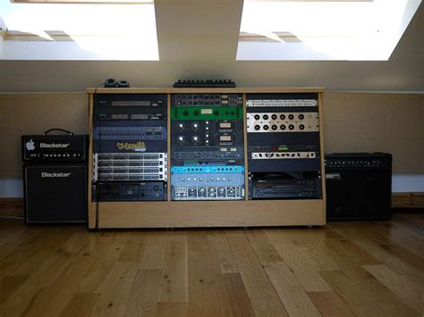 simple oak rack  home studio  studio desk home