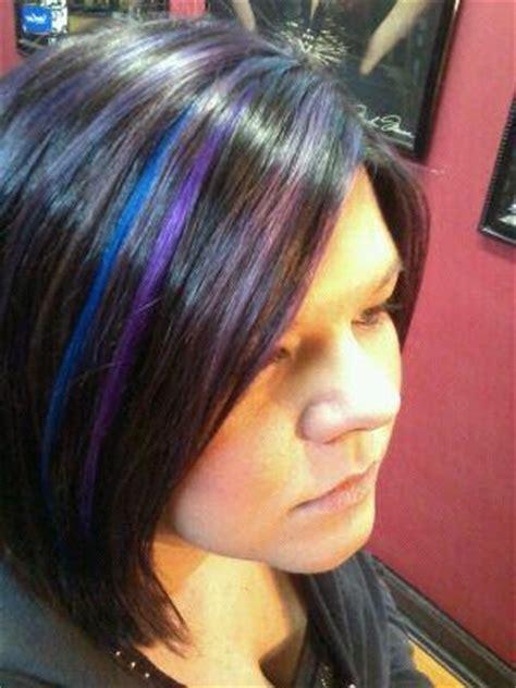 black blue  purple highlight hair hair stuff