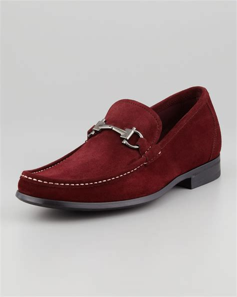 burgundy loafers for ferragamo magnifico suede loafer in for burgundy