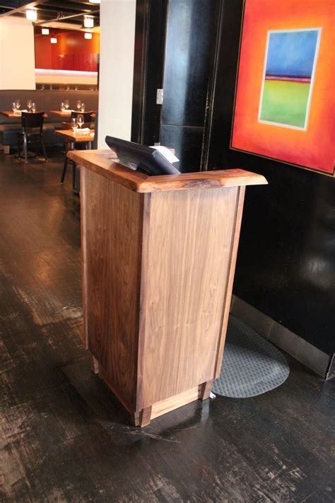 Restaurant Reception Desk Made Live Edge Restaurant Podium By Woodworkers Custommade