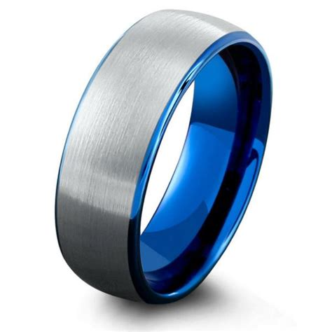 Mens Ocean Blue Brushed Tungsten  Ee  Wedding Ee    Ee  Band Ee   Northernroyal