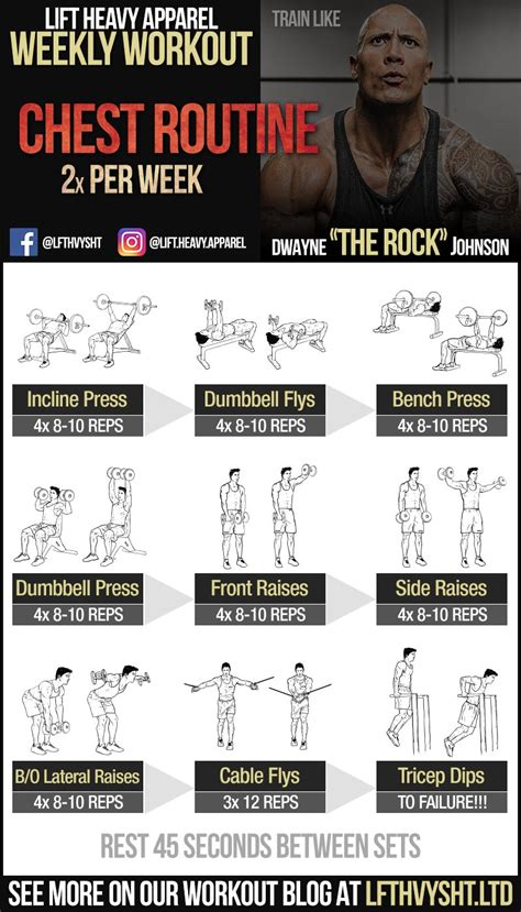 Bench Exercise The Rock S Chest Workout Routine Lift Heavy Apparel
