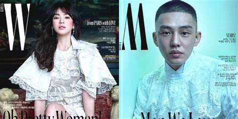 yoo ah in wedding song hye kyo and yoo ah in decorate the cover of w