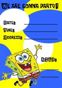 Spongebob Squarepants Template by Spongebob Birthday Invitations Template Best Template