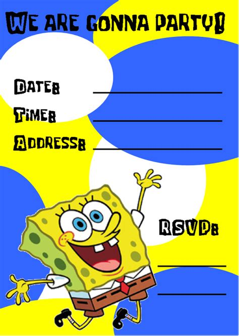 40th birthday ideas spongebob birthday party invitation