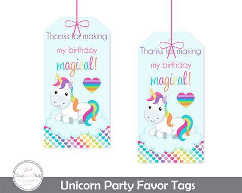 printable unicorn thank you tags unicorn party gift tags unicorn party thank you tags girls