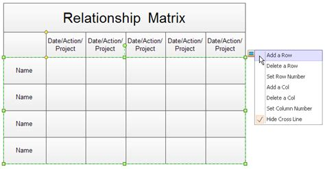service matrix template relationship matrix