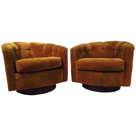 Pair Of Mid Century Tufted Barrel Back Swivel Lounge Tufted Swivel Chair