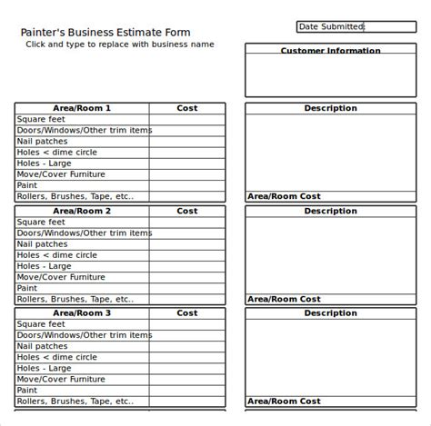painting estimate templates  excel