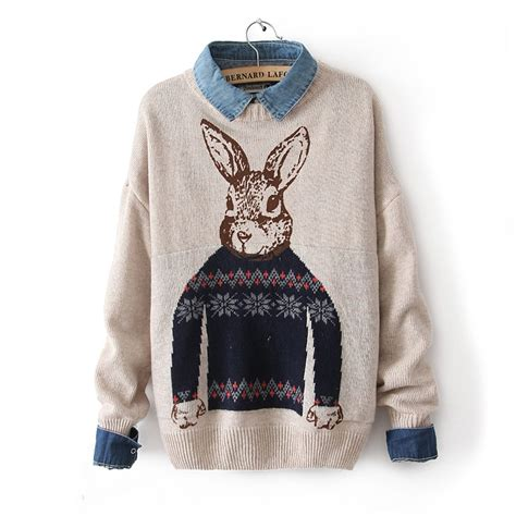 Pieter Sweater 2013 winter mr rabbit pattern print knitted pullover