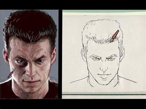 dibujos realistas rostros dibujo del rostro agachado realista escorzo de frente